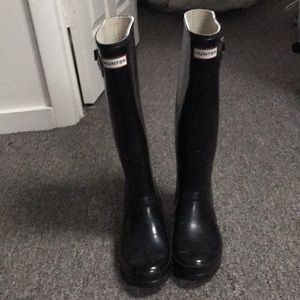 Tall Black Hunter Rain Boots